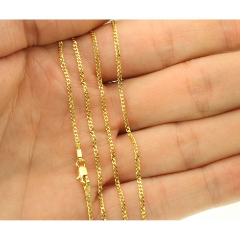 18K Goldkette Massiv Gold 750 Panzerkette Gelbgold Kette Damen Kinder 40cm 1,3mm