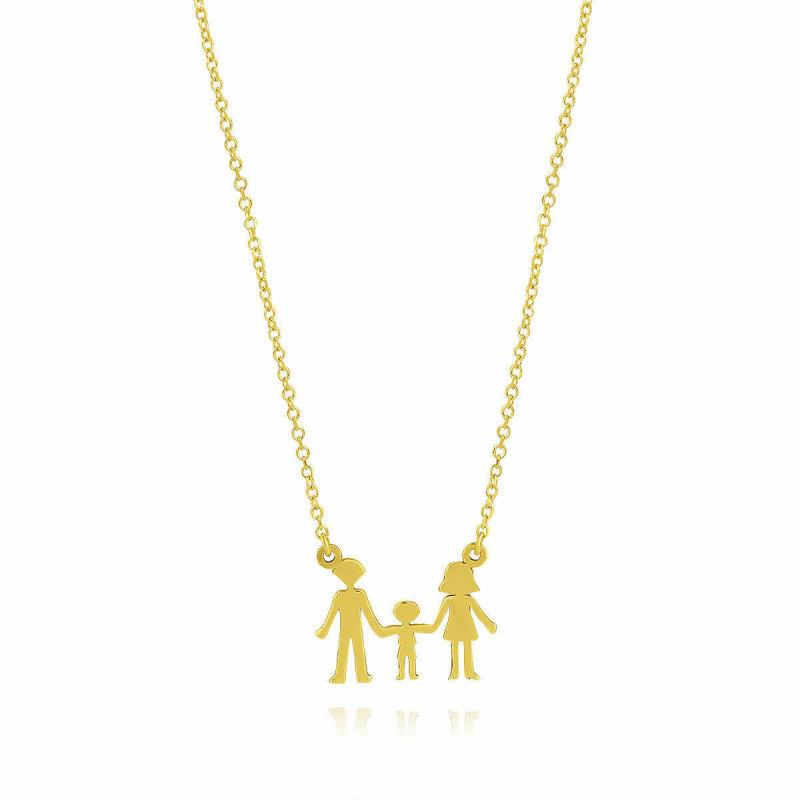 Halskette Damen Anhänger Familie Vater Mutter Kind aus Gold 585 Gelbgold 45cm