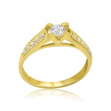 Ring Solitär 585er Gold Massiv Gelbgold 14K Damen...