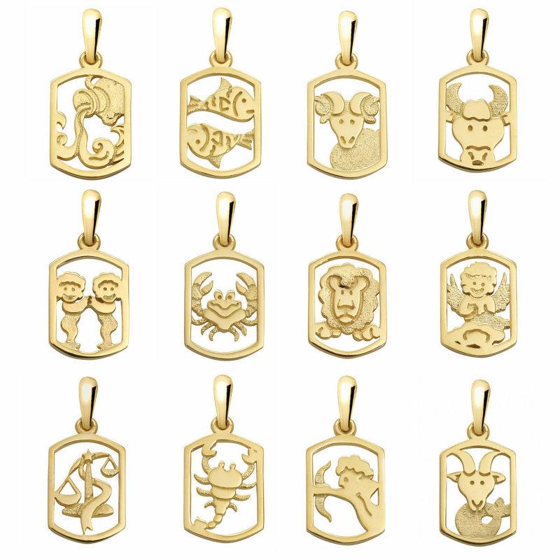 Anhänger Sternzeichen Waage echt Gold 585 massiv 14kt Tierkreiszeichen