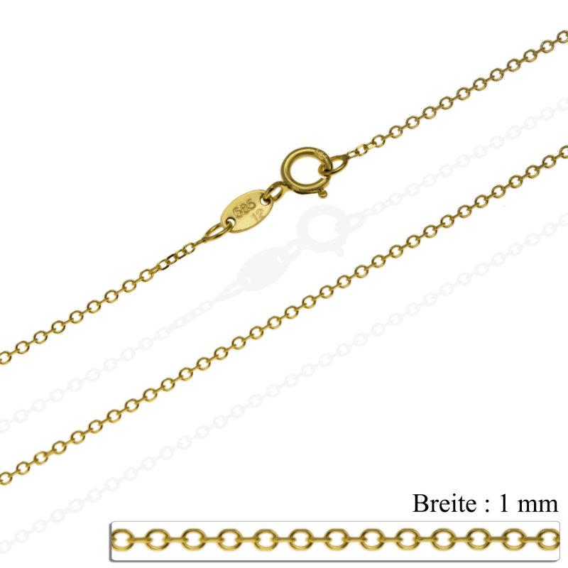 Anhänger mit Kette 585 Gold Doppelherz Gelbgold 14K Goldanhänger Damen 42-45cm