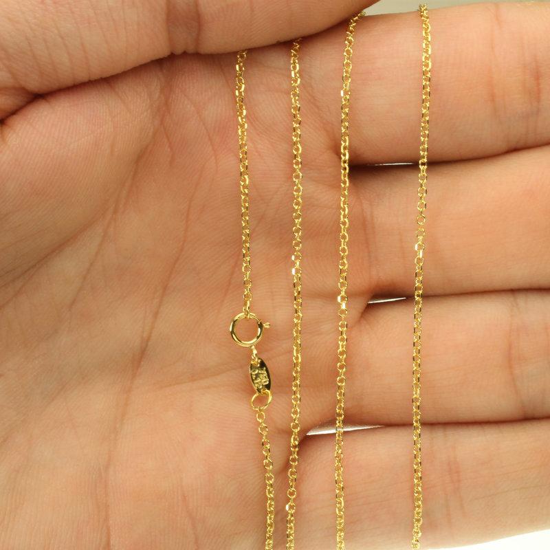 375 Gelbgold Damen Goldkette Halskette Kette Ankerkette 45cm 9Kt GOLD