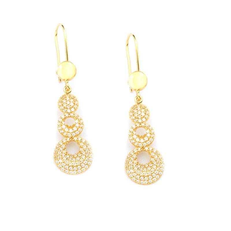 Goldohrringe Durchzieher Massiv Gelbgold Lange Ohrhänger Gold 585 14K Ohrringe