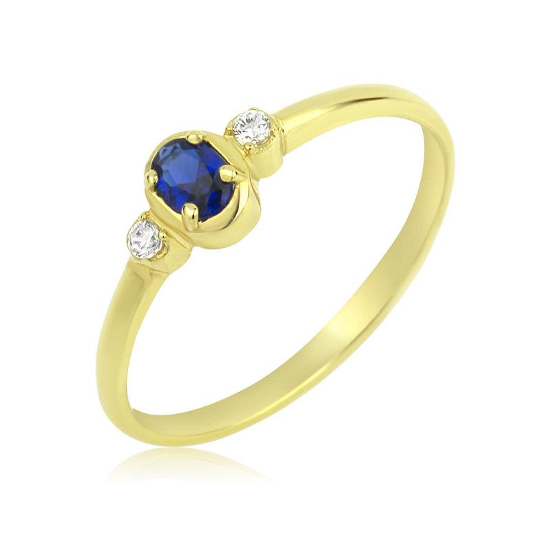 Damenring Solitär Klassischer Ring Gold mit Saphir und Zirkonia Goldring 750