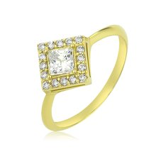 Goldring 585 Solitär Ring Gelbgold 14K Damen Quadrat...