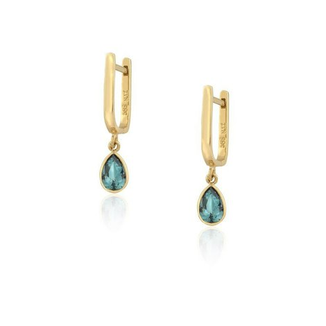 Aion Ohrringe Gold 585 14K Gelbgold Damen Ohrringe Blaue Steine-Drops Just blue